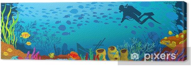 Tableau sur toile Récif de corail coloré et plongeur de bande dessinée - Sports aquatiques