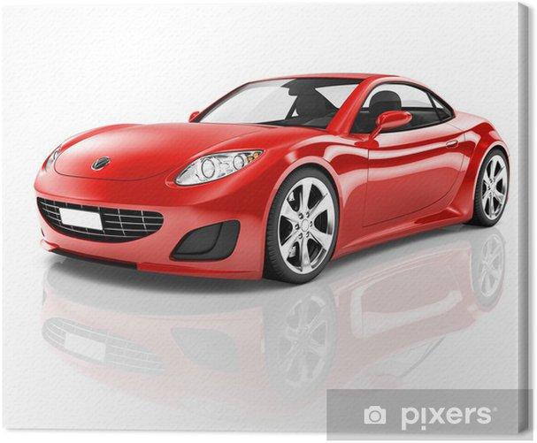 Tableau sur toile Red 3D voiture de sport - Sticker mural