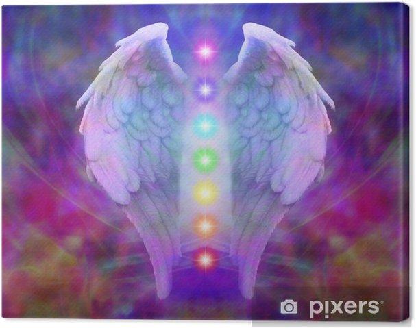 Tableau sur toile Reiki ailes d'ange et de sept Chakras - iStaging