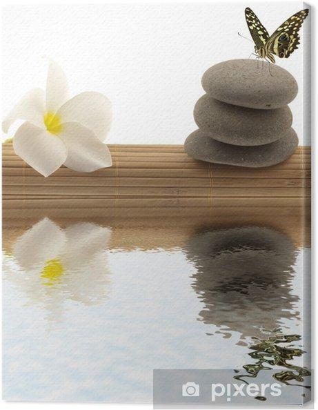 Tableau sur toile Relaxation concept; papillon, frangipanier, galets - Fleurs