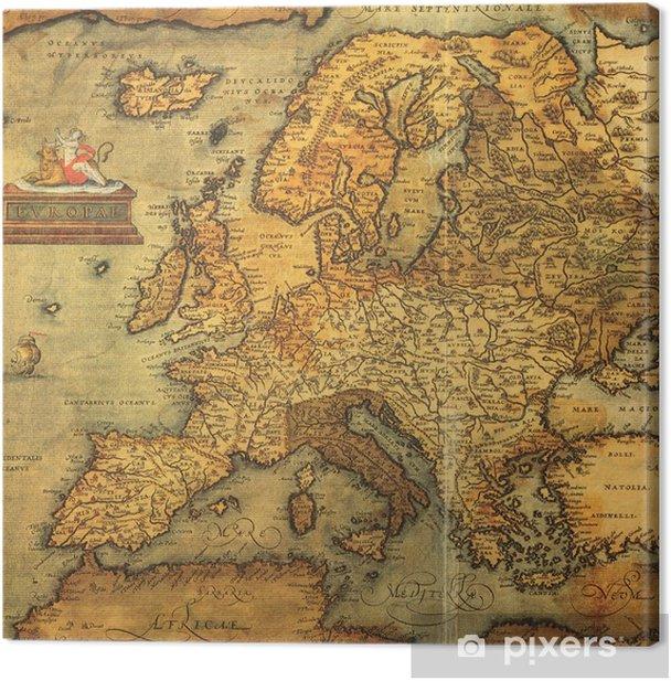 Tableau sur toile Reproduction de carte du 16ème siècle de l'Europe -