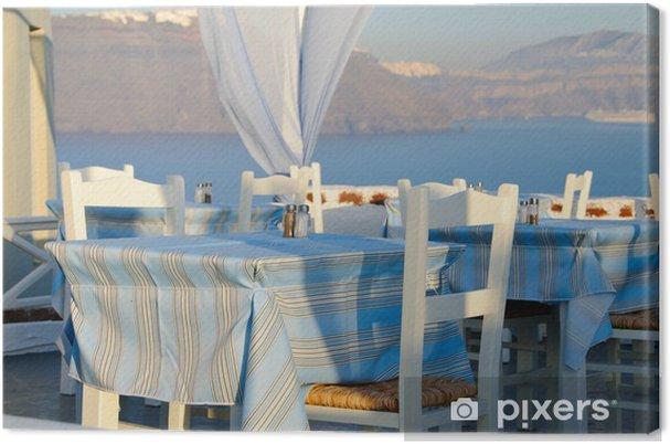 Tableau sur toile Restaurant traditionnel grec à Santorin, Grèce - Europe