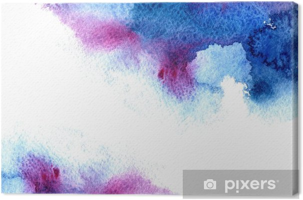 Tableau sur toile Résumé bleu et violet aqueuse frame.Aquatic backdrop.Hand aquarelle dessinée splash stain.Cerulean. - Ressources graphiques