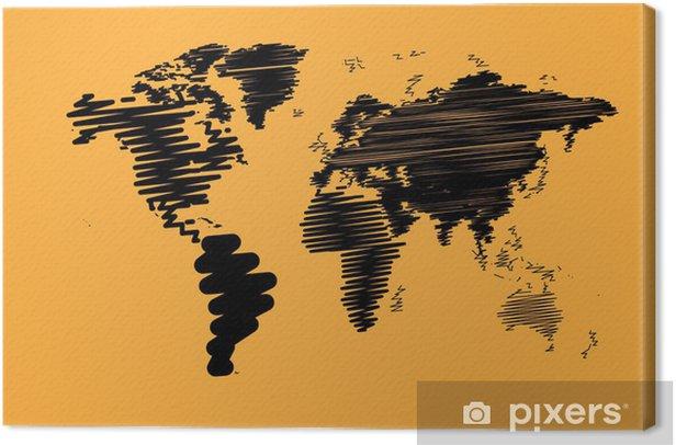 Tableau sur toile Résumé carte du monde de fond dans le style polygonal - Espace