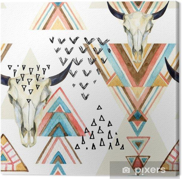 Tableau sur toile Résumé crâne aquarelle animal et l'ornement géométrique seamless pattern. - iStaging