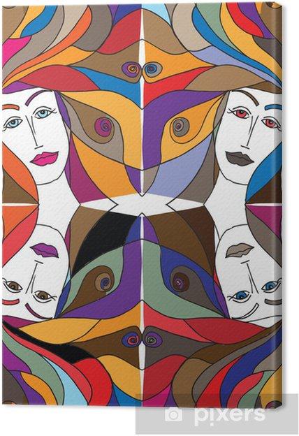 Tableau sur toile Résumé croquis de visage de femme. Vector illustration. - Mode