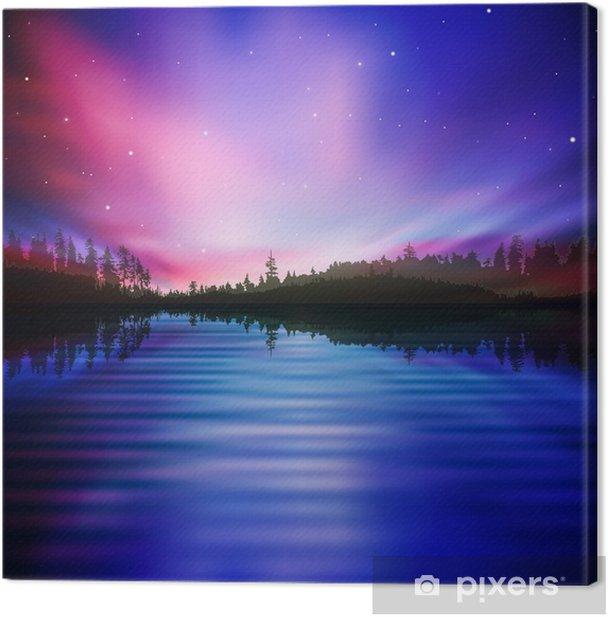 Tableau sur toile Résumé de fond avec la forêt du lac et le lever du soleil - Merveilles naturelles