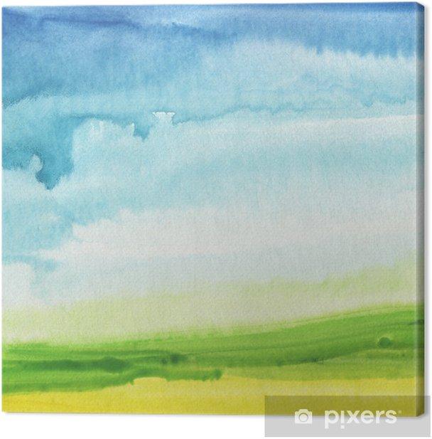 Tableau sur toile Résumé de la main aquarelle peinte fond de paysage. Texturé - Aquarelles