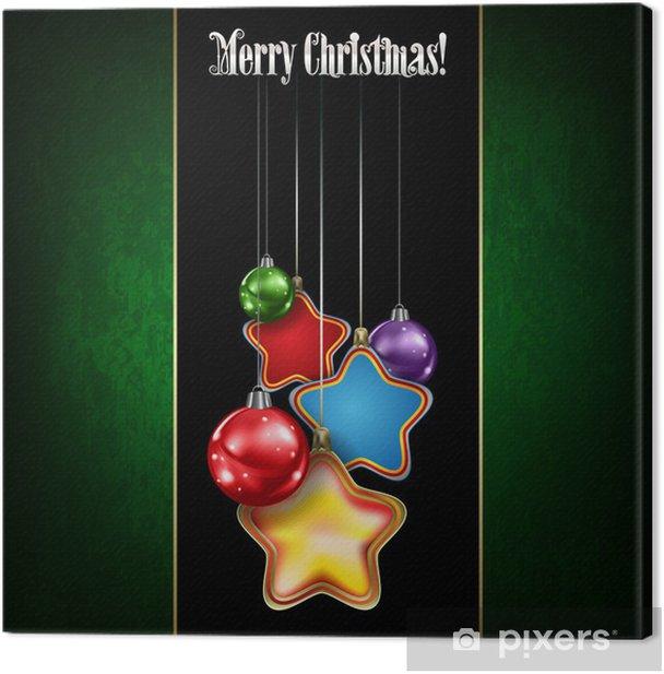 Tableau sur toile Résumé de voeux de fête avec des décorations de Noël - Fêtes internationales