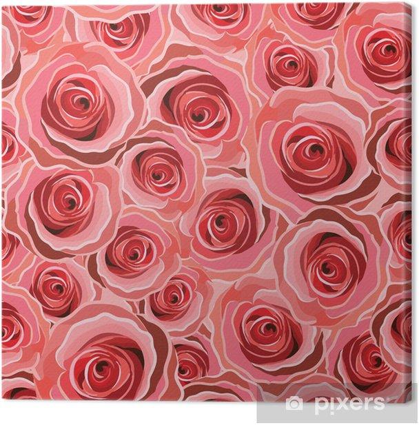 Tableau sur toile Résumé Seamless roses rouges fond - Bonheur