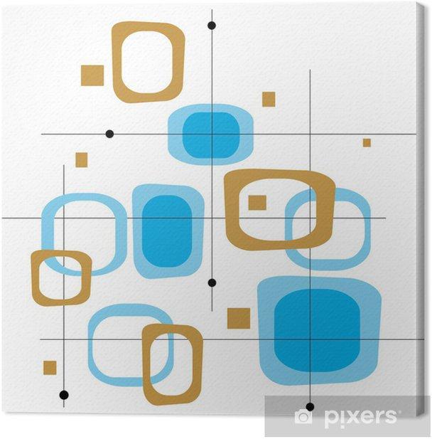 Tableau sur toile Rétro bleu et brun Squares - Textures