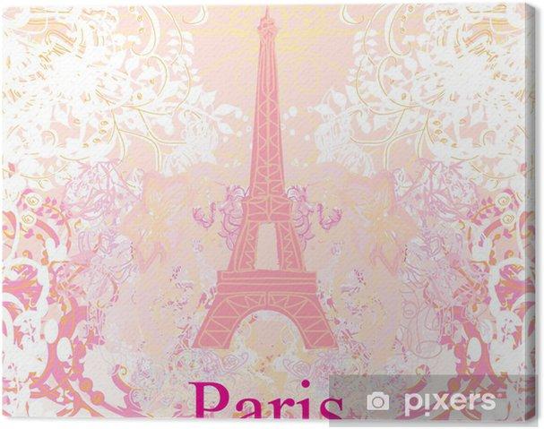 Tableau sur toile Rétro carte de Eiffel - Villes européennes