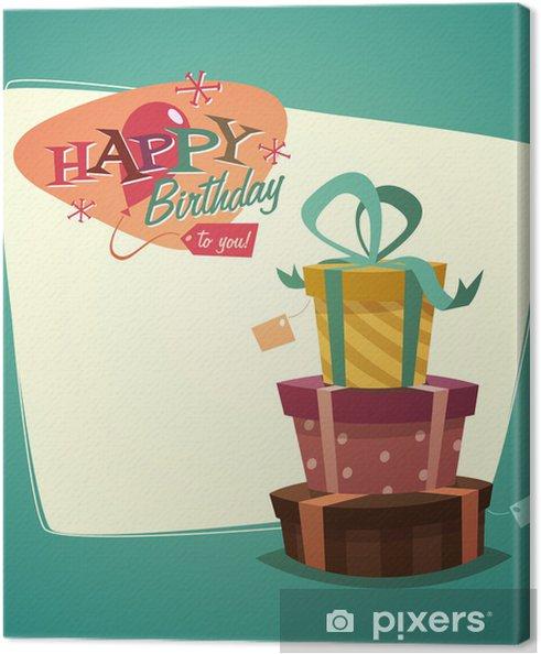 Tableau Sur Toile Rétro Carte De Joyeux Anniversaire De Cru Avec Des Cadeaux