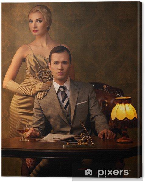 Tableau sur toile Retro couple assis derrière la table. - Maisons et jardins