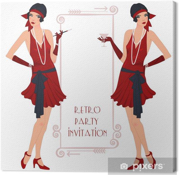 Tableau sur toile Rétro flappper fille, affiche d'invitation de partie - Divertissements