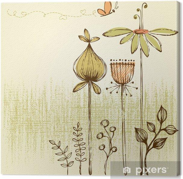 Tableau sur toile Retro floral card - Fleurs