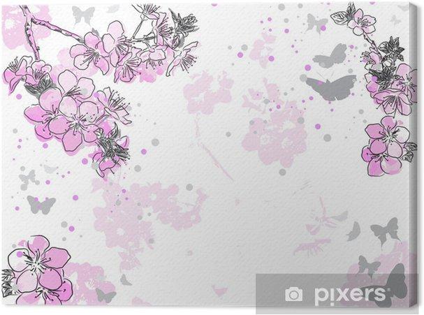 Tableau sur toile Rétro fond floral avec une fleur - Fleurs
