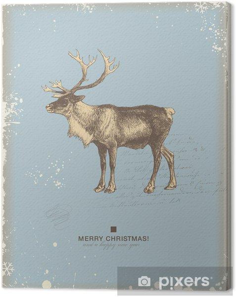 Tableau sur toile Rétro noël / hiver de fond avec des rennes - Fêtes internationales