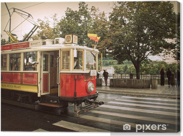Tableau sur toile Rétro tram rouge à Prague - Villes européennes
