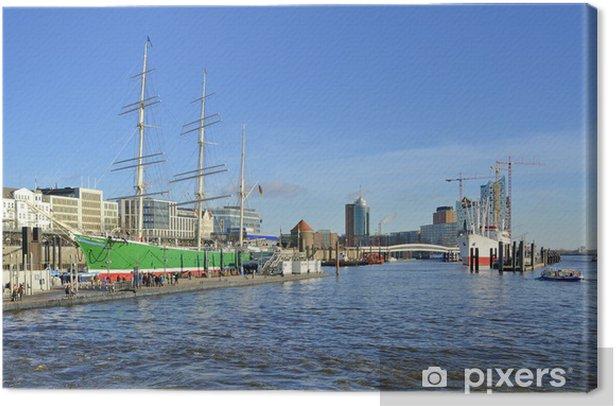 Tableau sur toile Rickmer Rickmers et de l'Elbe Philharmonic Hall dans le port de Hambourg - Europe