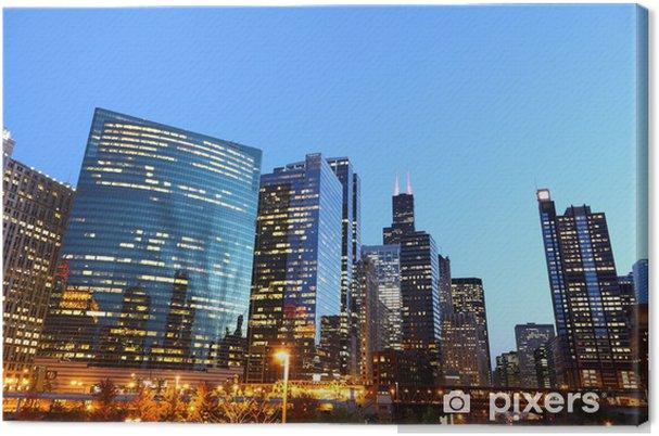 Tableau sur toile Riverside Downtown Chicago / USA au crépuscule - Amérique