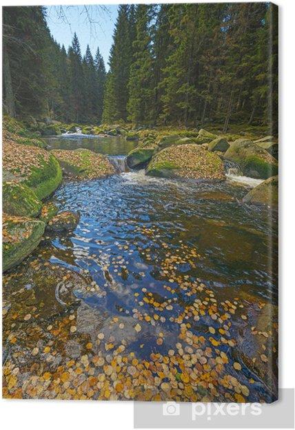 Tableau sur toile Rivière avec le feuillage jaune d'automne - Thèmes