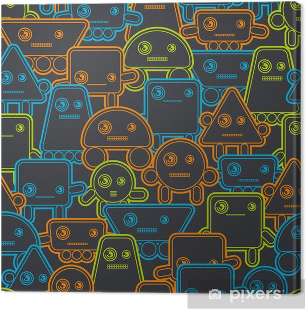 Tableau sur toile Robots Cartoon seamless pattern. - Styles