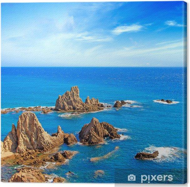 Tableau sur toile Rochers de la falaise et l'océan Andalousie paysage. Parque Cabo de Gata - Europe