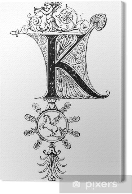 Tableau sur toile Romanesque Neoclassical design depicting the letter K - Signes et symboles