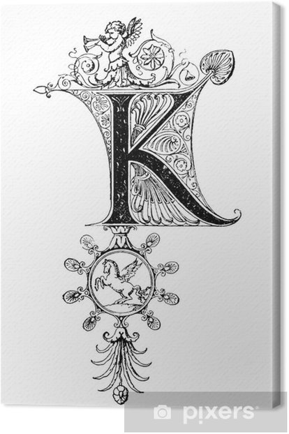 Tableau sur toile Romanesque Neoclassical design depicting the letter K - Signes et symboles