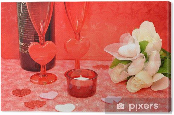 Tableau sur toile Romantique table - Bonheur