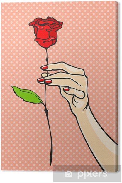 Tableau sur toile Rose dans une main - Thèmes