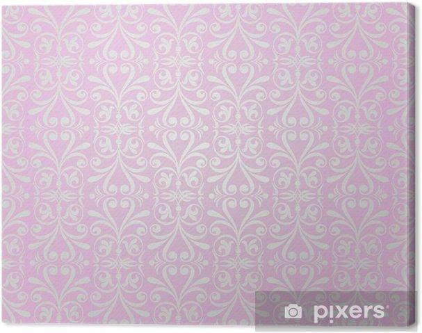 Tableau sur toile Rose & design vintage fond de papier peint argent - Célébrations