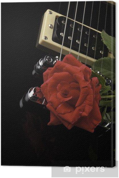 Tableau sur toile Rose rouge sur noir Guitare - Musique