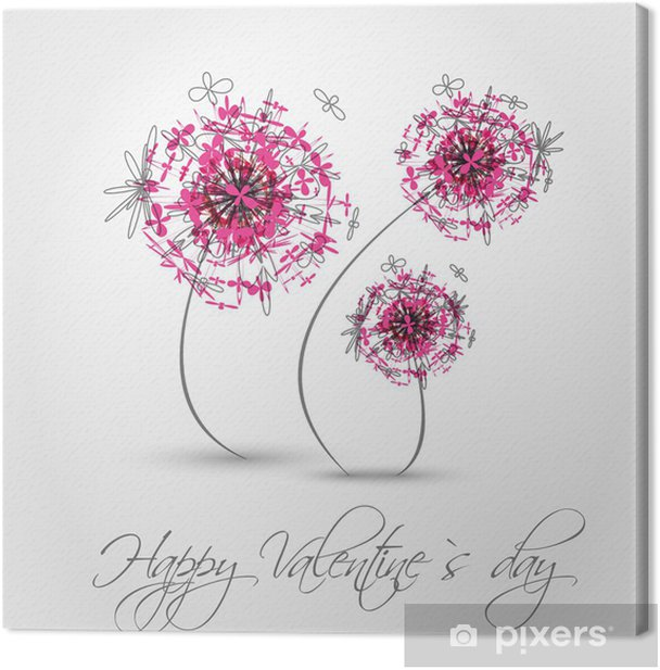 Tableau sur toile Rose valentine pissenlit - Fêtes internationales