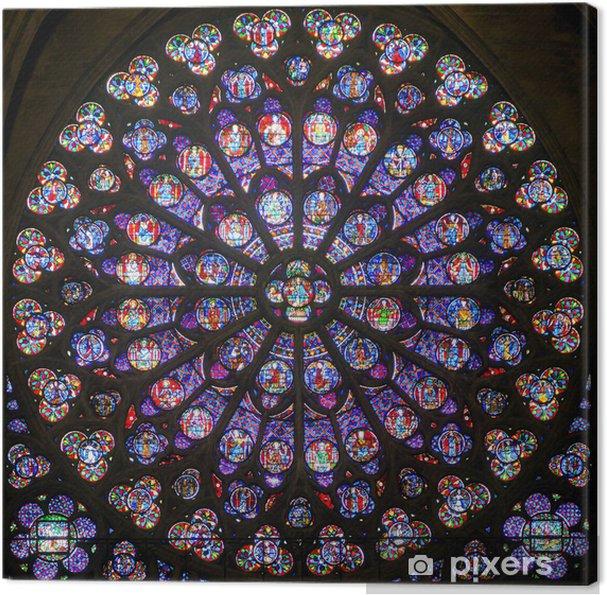 Tableau sur toile Rose vitrail dans la cathédrale de Notre Dame, Paris - Thèmes
