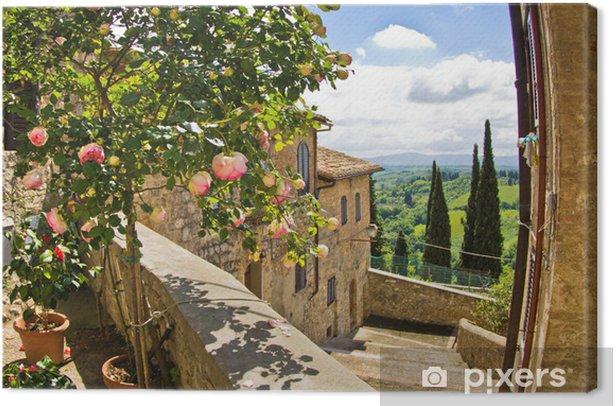 Tableau sur toile Roses à un balcon à San Gimignano, en Toscane fond de paysage - Thèmes