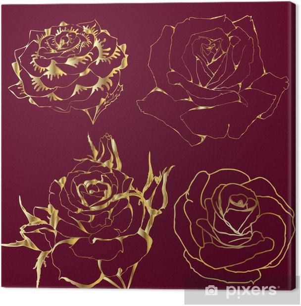 Tableau sur toile Roses d'or. silhouettes de fleurs sur un fond bordeaux. - Fleurs