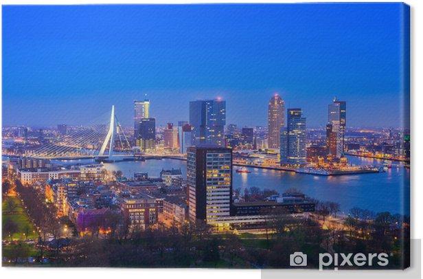 Tableau sur toile Rotterdam au crépuscule de Euromast - Thèmes