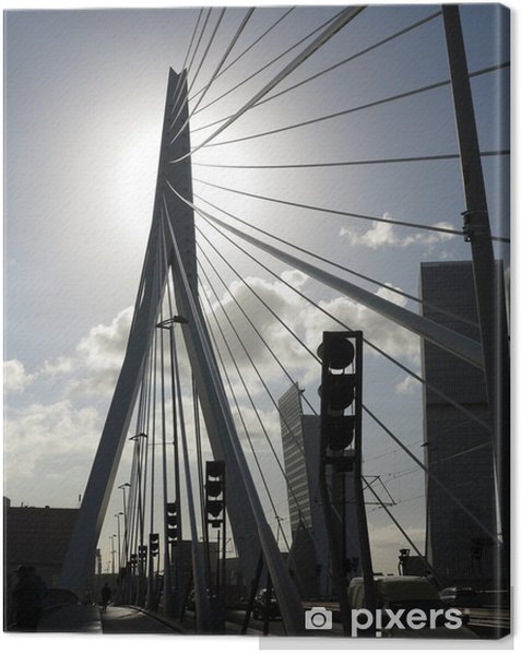 Tableau sur toile Rotterdam, pont Erasmus, Pays-Bas - Infrastructures