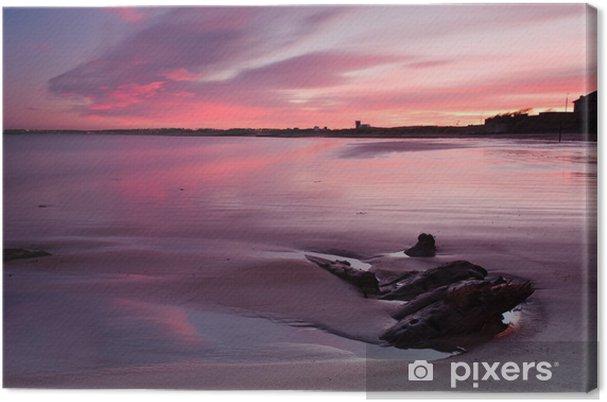 Tableau sur toile Rouge coucher du soleil à la plage de Blyth - Thèmes