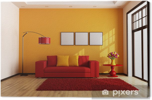 Tableau sur toile Rouge et du salon d\'orange