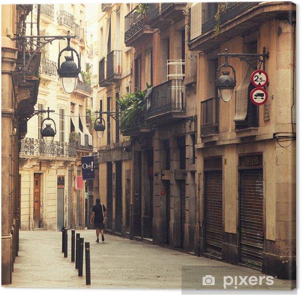 Tableau sur toile Rue dans le quartier gothique de Barcelone. - Thèmes