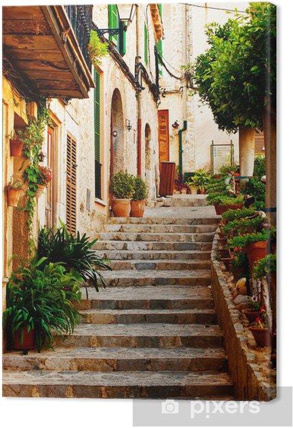 Tableau sur toile Rue dans le village de Valldemossa à Majorque -