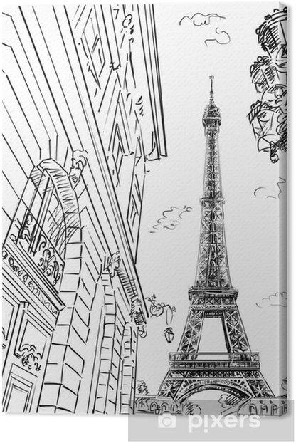 Tableau sur toile Rue de Paris-croquis illustration - Thèmes