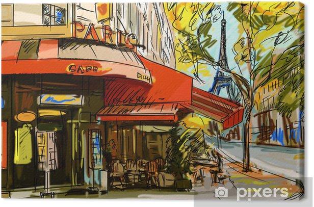 Tableau sur toile Rue de Paris - illustration - Thèmes