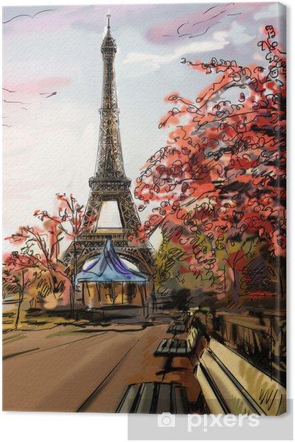 Tableau sur toile Rue de Paris. Tour Eiffel - illustration - Thèmes