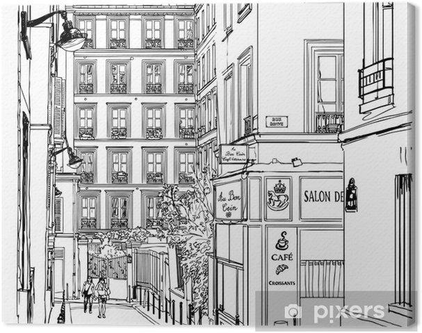 Tableau sur toile Rue près de Montmartre à Paris - Pour café