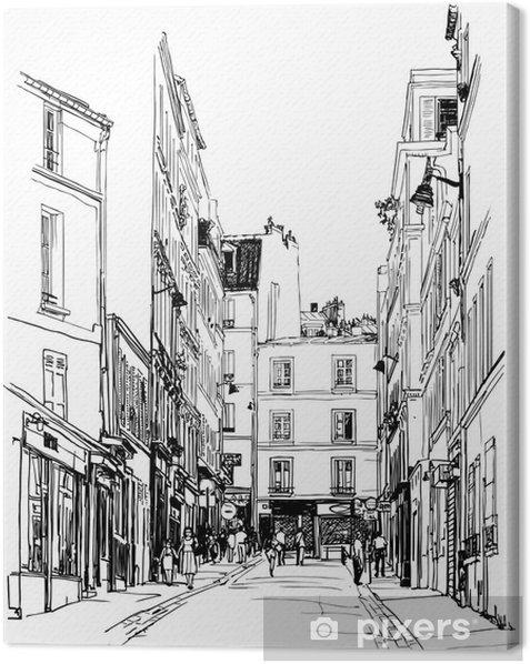 Tableau sur toile Rue près de Montmartre à Paris - Styles