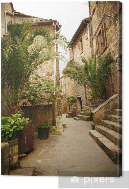 Tableau sur toile Ruelle étroite avec de vieux bâtiments dans la ville médiévale italienne typique -